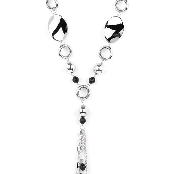 Silver and black long necklace